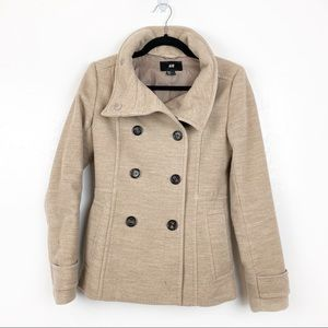 H&M | Taupe Button Up Pea Coat